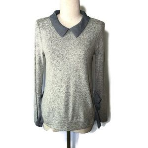 Monteau M grey top with navy stripe details.